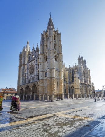 Gothic cathedral of Leon, Castilla Leon, Spain   Stock Photo