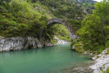 vapour: Old Roman stone bridge in Asturias, Spain  bridge La Vidre, on river cares Stock Photo