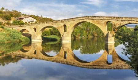 navarre: romanesque bridge over river Arga, Puente La Reina, Road to Santiago de Compostela, Navarre, Spain
