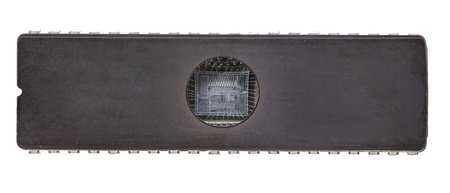 rewritable: EEPROM detail of rewritable memory chip isolated on white base