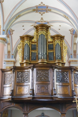 inside church of San Cristobal in beilstein germany  detail of the organ