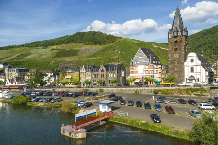 Bernkastel-Kues - town in Rhineland-Palatinat e region of Germany  Old decorative houses and vineyards next to Mosel river