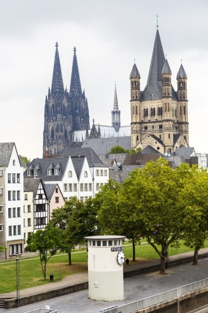 Cathedral of Cologne and church of Gross St. Martin in Cologne, Germany  photo