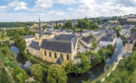 luxembourg: Summer panorama of Abbey de Neumunster in Luxembourg City  Stock Photo