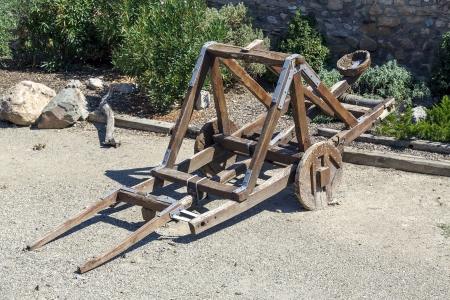 catapult: Catapult in the medieval town of Montblanc, Tarragona Spain Stock Photo