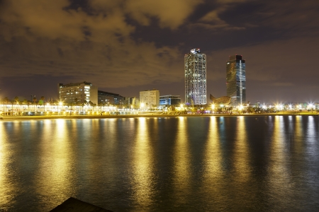 Overview of Barcelona Spain to Mananecer, Taken from the Barceloneta beach. photo