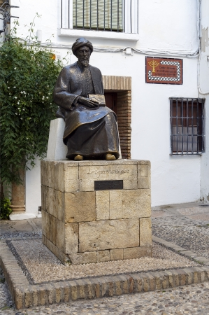 theologian: Statue of Maimonides in Cordoba, Spain. Medical, Jewish rabbi and theologian Al-Andalus in the Middle Ages. Was important philosopher in medieval thought. Stock Photo