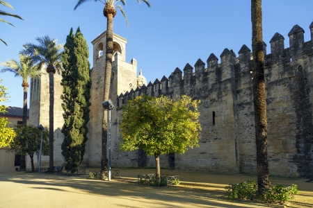 CORDOBA, SPAIN - SEPTEMBER 25: Exterior view of Alcazar de los Reyes Cristianos on September 25, 2013 in Cordoba, Spain. The place is declared UNESCO World Heritage Site.
