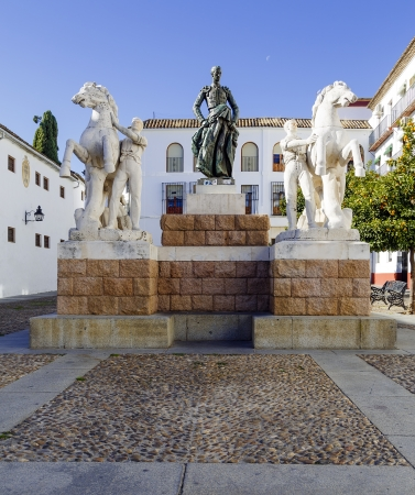 hometown: CORDOBA, SPAIN - NOVEMBER 26: Monument in his hometown to the spanish bullfighter Manuel Rodriguez Sanchez, known as Manolete, November 26, 2013 in Cordoba, Andalusia, Spain