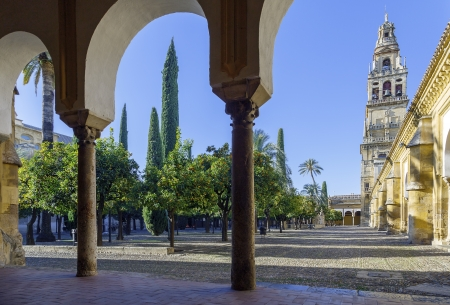 Minaret Mosque Cordoba, Spain, view from inside the Patio de los Naranjos Stock Photo