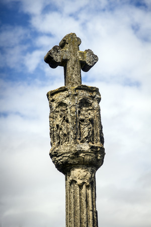 highroad: Cross of the camino de santiago as it passes through  Cenicero, the province of La Rioja, Spain