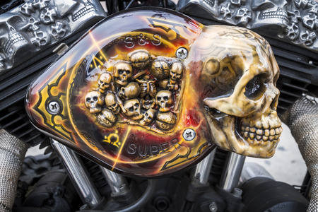 BARCELONA, SPAIN - JULY 08: Customized motorcycle detail, with a Harley Davidson motorbike at an exhibition during BARCELONA HARLEY DAYS 2012, on July 08, 2012, Barcelona, Spain.