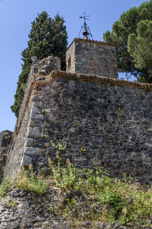 torridity: detail of defensive wall of the city of Hostalric, Girona