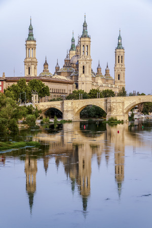 View of the Basilica Cathedral of Our Lady of the Pillar, Catedral Basilica de Nuestra Señora del Pilar, Zaragoza Spain photo
