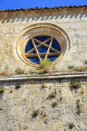 Church of San Juan in Castrojeriz Burgos, Spain dating from the thirteenth century  Rosette, superb specimen of pentagram, pentagon traditionally invested mystical symbolism