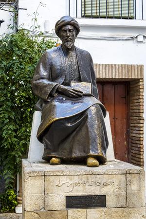 rabbi: Statue of the Jewish scholar Moses Maimonides, Rabbi Mosheh Ben Maimon in Cordoba, Andalusia, Spain