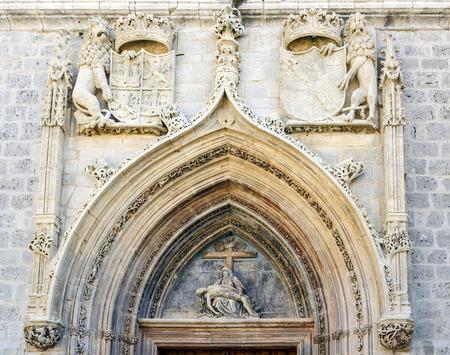 miraflores: Facade of the entrance to the church of the Charterhouse of Miraflores, Burgos, Spain Stock Photo