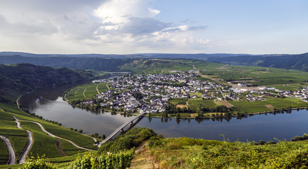 mosel: german church located high above the mosel river near bernkastel-kues germany.