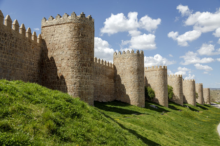 crenelation: Scenic medieval city walls of Avila, Spain