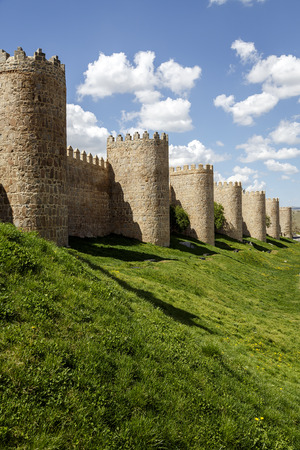 crenelation: Scenic medieval city walls of Avila, Spain,