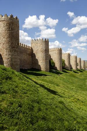 crenelation: Scenic medieval city walls of Avila, Spain,