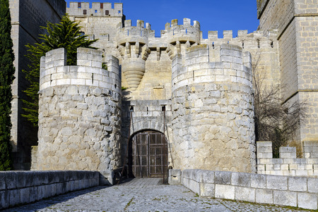 palencia province: medieval street of ampudia in palencia province, Spain
