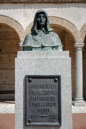 theologians: Monument to Fray Bartolome evangelist of America in his hometown of Olmedo Valladolid