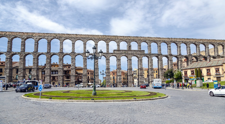 SEGOVIA, SPAIN - APR 16, 2014: Roman Aqueduct of Segovia, Spain. It is the UNESCO World Heritage