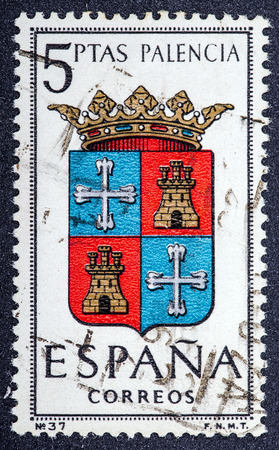 SPAIN - CIRCA 1965  A stamp printed in Spain dedicated to Arms of Provincial Capitals shows Palencia, circa 1965