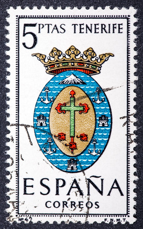 SPAIN - CIRCA 1965  A stamp printed in Spain dedicated to Arms of Provincial Capitals shows Tenerife, circa 1965   photo