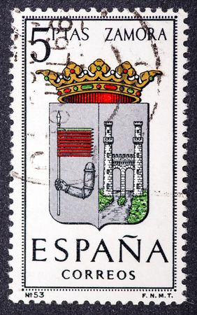 zamora: SPAIN - CIRCA 1965  A stamp printed in Spain dedicated to Arms of Provincial Capitals shows Zamora, circa 1965