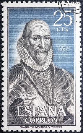SPAIN - CIRCA 1966: A stamp printed in Spain shows Alvaro de Bazan, circa 1996  Editorial