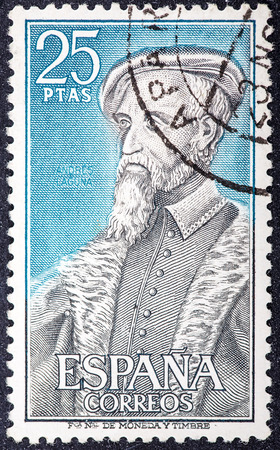 humanist: SPAIN - CIRCA 1967: a stamp printed in the Spain shows Andres Laguna de Segovia, 16th Century Physician, circa 1967