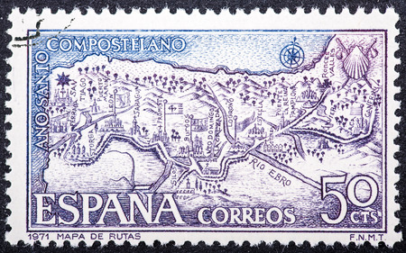SPAIN - CIRCA 1971: stamp printed by Spain, shows the route map for the path of Santiago de Compostela, circa 1971