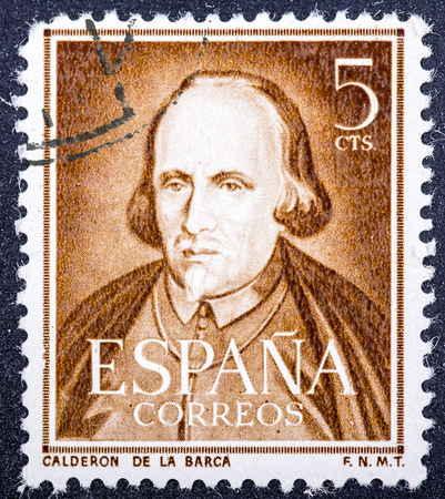 SPAIN - CIRCA 1951: A stamp printed in Spain shows dramatist, poet and writer Pedro Calderon de la Barca, circa 1951.