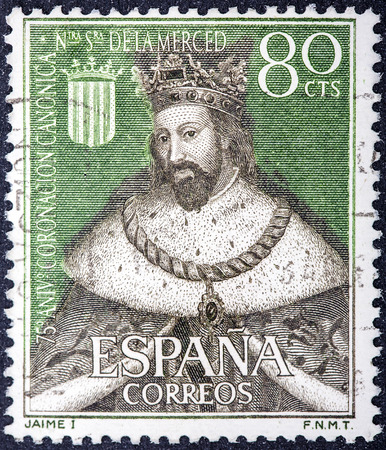king james: SPAIN - CIRCA 1963: a stamp printed in the Spain shows King James I the Conqueror, King of Aragon, circa 1963