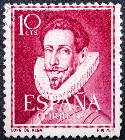 SPAIN - CIRCA 1951: a stamp printed in the Spain shows Lope de Vega, Spanish Playwright and Poet, circa 1951