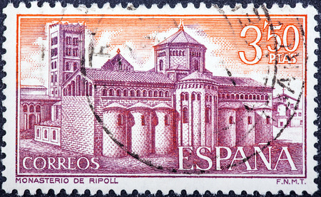 walling: SPAIN - CIRCA 1970: stamp printed by Spain, shows Ripoll Monastery, View of monastery, circa 1970
