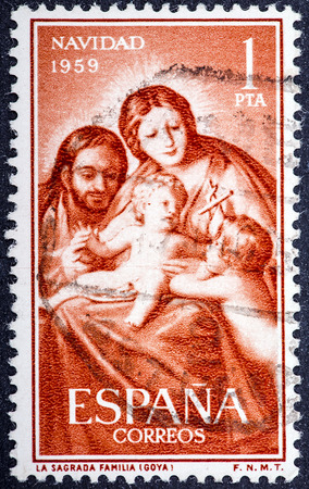 SPAIN - CIRCA 1959: A stamp printed in Spain from the Christmaswith the picture of the holy family of Francisco de Goya, circa 1959. Editorial