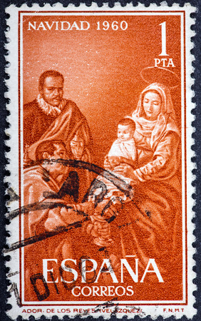 SPAIN - CIRCA 1960: A stamp printed in Spain from the Christmas,  with the picture of the Adoration of the Kings (Diego Velazquez), circa 1960.