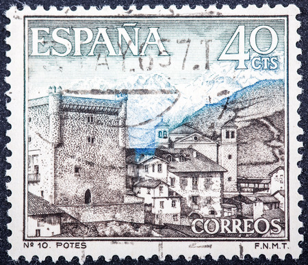 window seal: SPAIN - CIRCA 1964: stamp printed by Spain, shows Potes, circa 1964