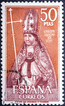 rada: SPAIN - CIRCA 1969: stamp printed by Spain, shows Bishop Rodrigo Ximenez de Rada, circa 1969  Editorial