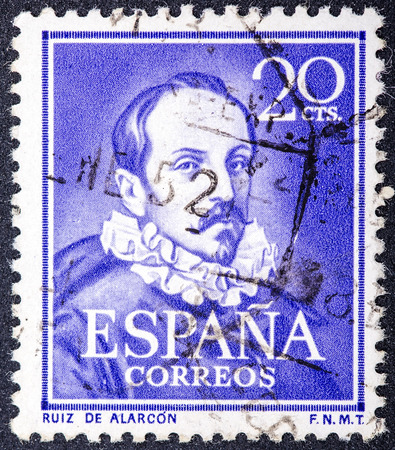 ruiz: SPAIN, CIRCA 1950: stamp printed in Spain , showing portrait Juan Ruiz de Alarcon y Mendoza. Playwright is one of the leading figures of Spanish theater of Golden Age, circa 1950  Editorial