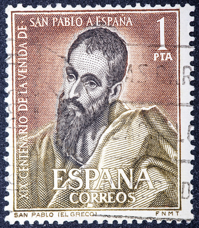 greco: SPAIN - CIRCA 1963: A stamp printed in Spain shows San Pablo painted by Greco, nineteenth centenary of the coming of St. Paul to Spain, circa 1963  Editorial