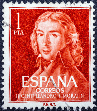 dramatist: SPAIN - CIRCA 1961: A stamp printed in Spain from the Birth bicentenary of poet and dramatist Moratin issue shows Leandro Fernandez de Moratin, circa 1961.