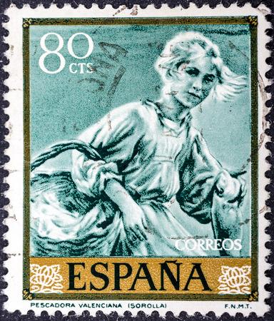joaquin: SPAIN - CIRCA 1964: stamp printed by Spain, shows Fisherwoman of Valencia by Joaquin Sorolla, circa 1964
