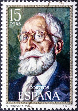 ignacio: SPAIN - CIRCA 1971: stamp printed by Spain, shows Ramon Menendez Pidal (Ignacio Zuloaga), circa 1971