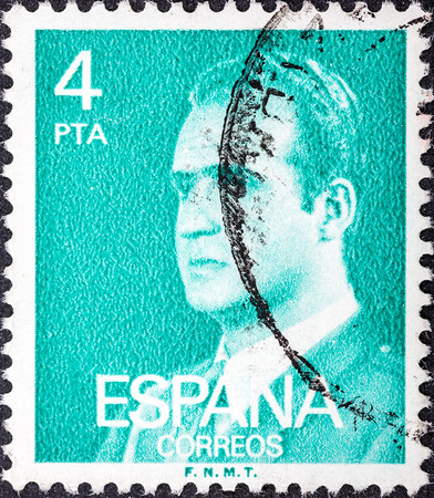 SPAIN - CIRCA 1976: A stamp printed in Spain shows a portrait of King Juan Carlos I of Spain without inscription, with imprint F.N.M.T, from the series King Juan Carlos I, circa 1976.