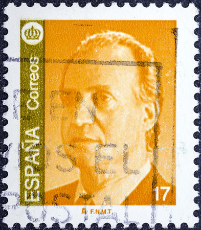 carlos: SPAIN - CIRCA 1985: A stamp printed in Spain shows a portrait of King Juan Carlos I of Spain without inscription, from the series King Juan Carlos I, circa 1985