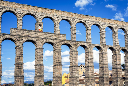 view of the aqueduct of Segovia, Castilla Leon, Spain  photo